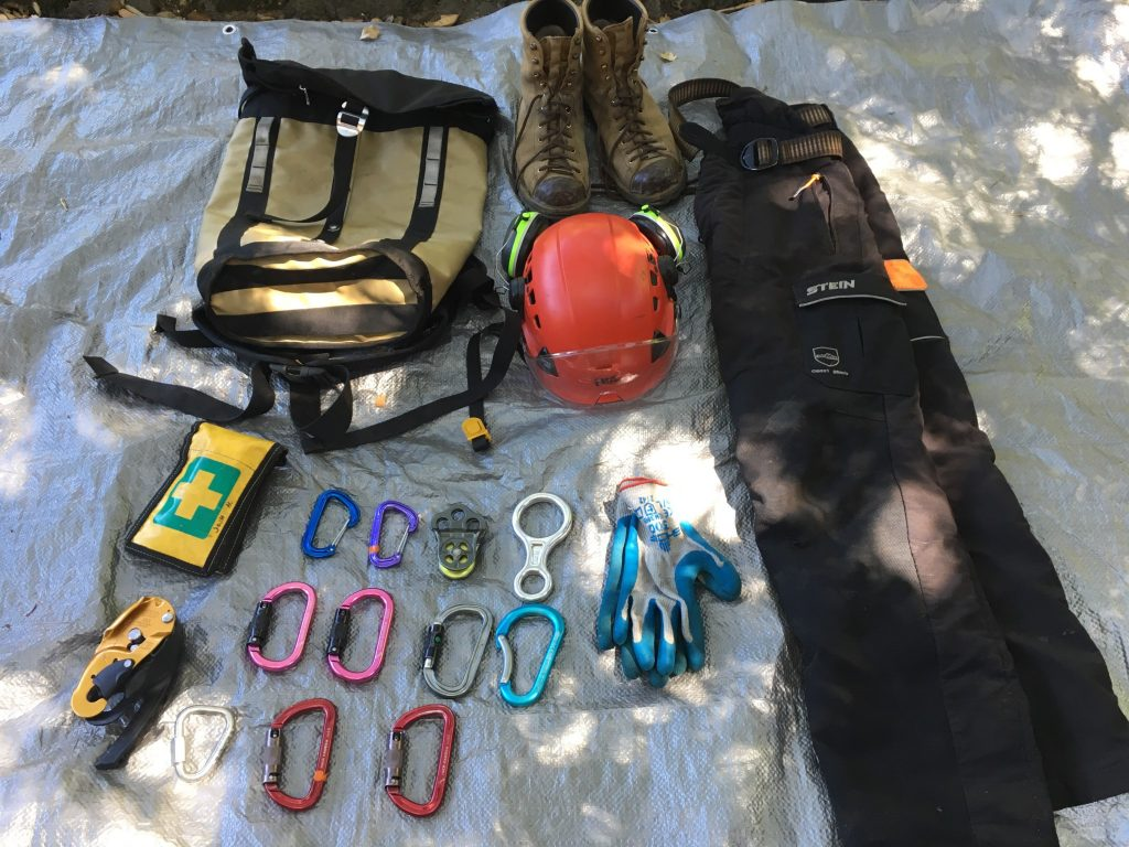 Simplified tree climbing gear for airplane travel